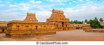 entrada, nadu, panorama, india, (trichy), hindú, thanjavour,...