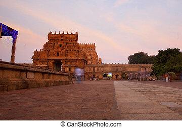 entrada, nadu, uno, sites., thanjavur, brihadeeswarar, india., herencia, mundo, tamil, templo