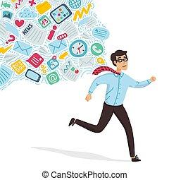 entrada, overloading., sobrecarga de la información, concept., joven, funcionamiento lejos, de, información, corriente, persiguiendo, him., concepto, de, persona, abrumado, por, information., colorido, vector, ilustración, en, plano, caricatura, estilo