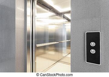 entrada, para, elevador