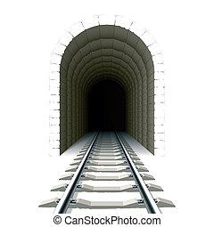 entrada, para, estrada ferro, túnel