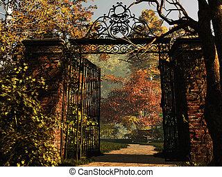 entrada, parque