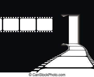 entrada, película, zona