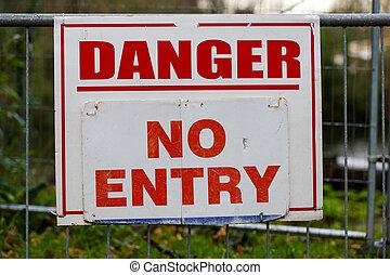 entrada, perigo, não