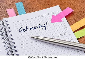 entrada, planejador, em movimento, diariamente, adquira