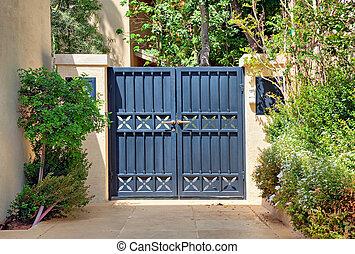 Entrada, pretas, Forjado, ferro, portões