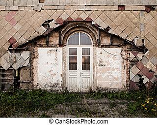 entrada, puerta, a, el, viejo, arruinado, edificio