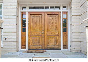 entrada, puerta, de madera, doble, magnífico, hogar