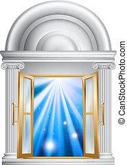 entrada, puerta, mármol