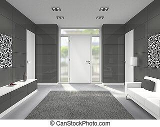 entrada, puerta, moderno,  interior, frente, blanco