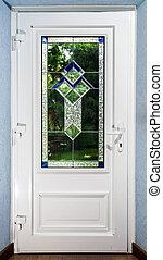 entrada, puerta, tiffany, dirigido, pvc, cristal