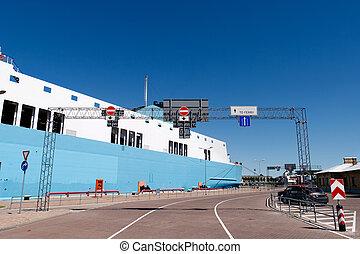 entrada, puerto, transbordador