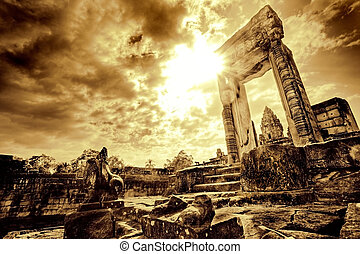 entrada, ruína, templo