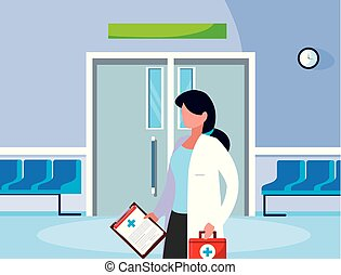 entrada, sala, trabalhador, operando, femininas, medicina