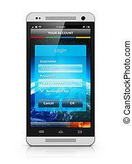 entrada, smartphone, pantalla