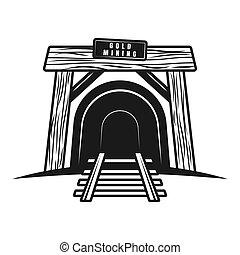 entrada, túnel, objeto, mina, vetorial, estrada ferro