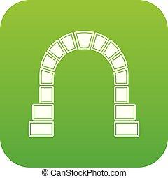 entrada, túnel, vetorial, verde, estrada ferro, ícone