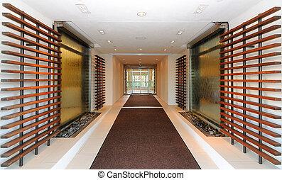 entrada, vestíbulo del hotel