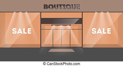 entrada, vidro, doors., vazio, interior, loja