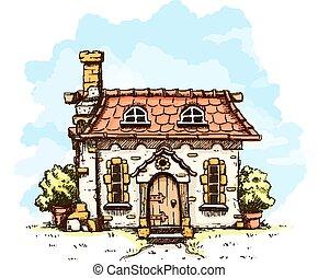 entrada, viejo, casa, azulejos, techo, cuento de hadas