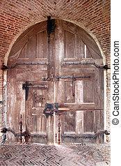 entrada, viejo, medieval, pórtico, muy, castillo
