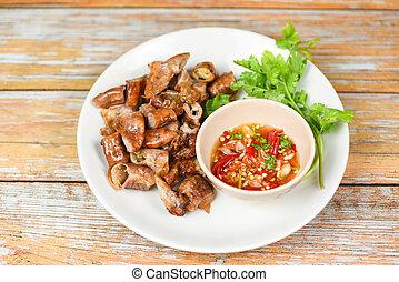 Entrails intestines part of pork asian thai food - Roasted ...