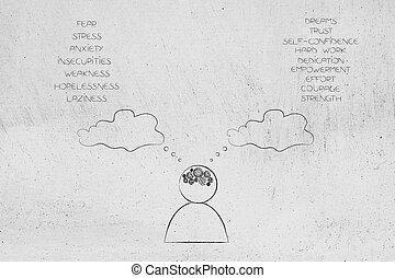 entrambi, positivo, mente, negativo, elenchi, gearwheel, pensiero, persona, sentimenti, bolla