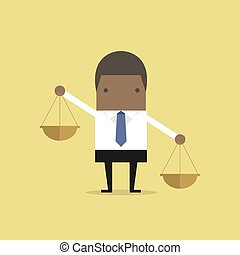 entrambi, scala, portante, africano, uomo affari, equilibrio, hands.