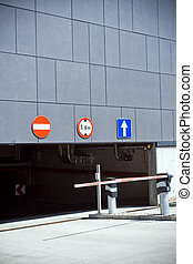 Entrance and exit of parking garage - Parking garage...