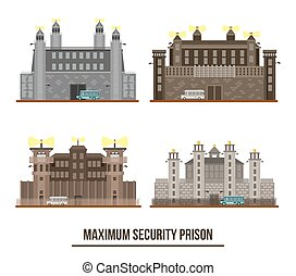Entrance at maximum security prison with towers. Set of...