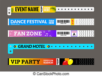 Entrance bracelet at concert event zone festival. Access id template design. Perfoming carnival or dance wristband design entrance