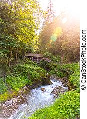 Entrance Bridge to Sigmund Thun Gorge. Cascade valley of ...