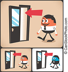 Entrance - Cartoon man entering door. Illustration is in 3...