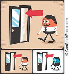 Cartoon man entering door. Illustration is in 3 versions. No transparency and gradients used.