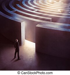 Entrance complicated maze - Businessman at the entrance a...