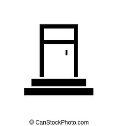 entrance door icon, vector illustration, black sign on isolated background