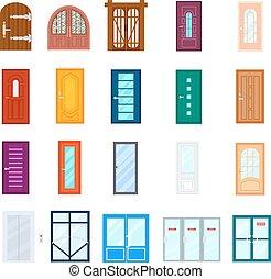 Entrance door isolated vector set in flat design