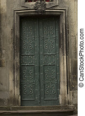 Entrance door to the church in Lviv