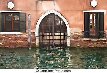 Entrance flooded by high water in Venice