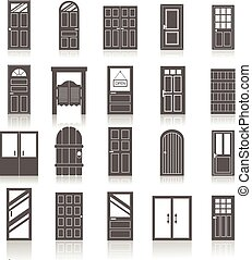 Entrance front doors icons set isolated on white background