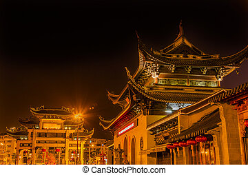 Entrance Gate Buddhist Nanchang Temple Pagoda Wuxi Jiangsu China Night