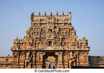Entrance gate or Gopuram. Brihadishvara Temple, Thanjavur,...