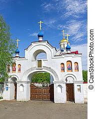 entrance gate to the Church Panteleimon. Russia, Orel region.