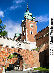 Entrance Gate to the Wawel Royal Castle in Cracow, Poland.