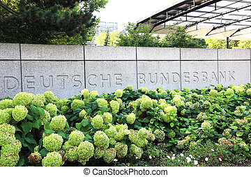 Entrance German Federal Bank - the entrance of the German...