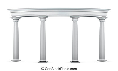 Entrance group with columns in the classical style on a...