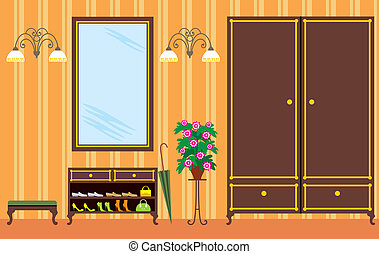 Entrance hall in apartment - Vector illustration. It is ...