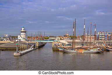 Harbor of harlingen. The departure point for the dutch wadden islands Terschelling and Vlieland