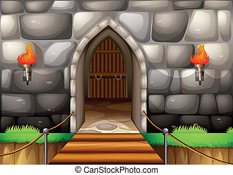 Entrance - Illustration of a gate of a castle