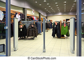 Entrance in clothes section in store